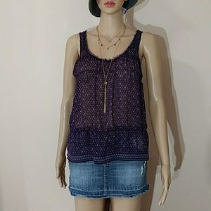 American Eagle Outfitters Heart Printed Mesh Tank